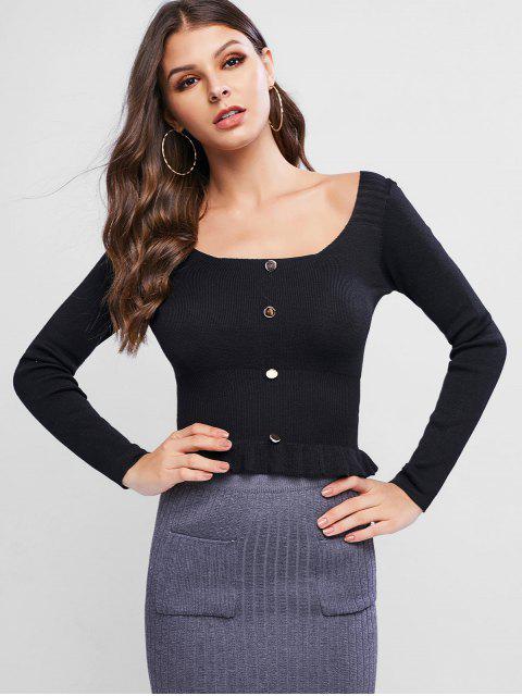 圓領扣點綴Peplum毛衣 - 黑色 One Size Mobile