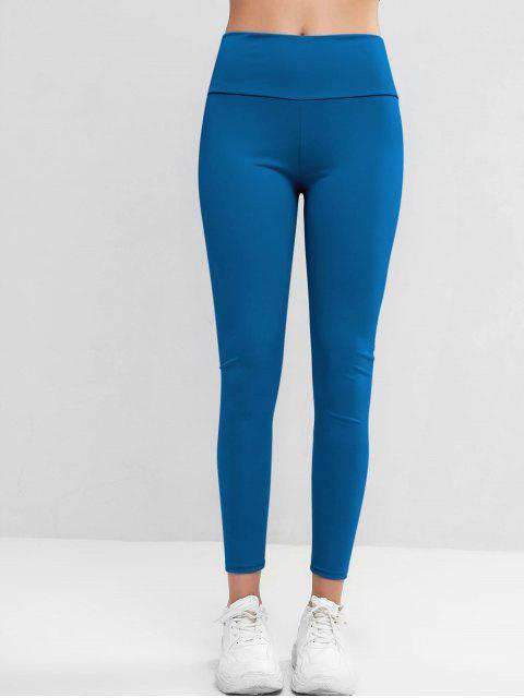 高腰窄身碾碎對接護腿 - 藍色常春藤 M Mobile
