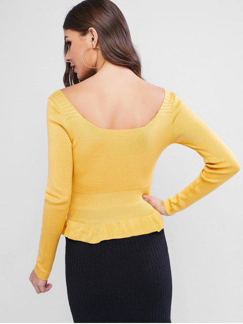 U Ausschnitt Knopf Verschönerter Peplum Pullover - Gelb Eine Größe Mobile