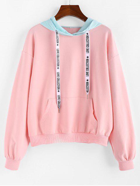 ZAFUL信Colorblock落肩部前側口袋連帽衫 - 豬粉紅色 L Mobile