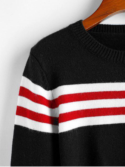ZAFUL Gestreifter Crop Pullover - Schwarz M Mobile