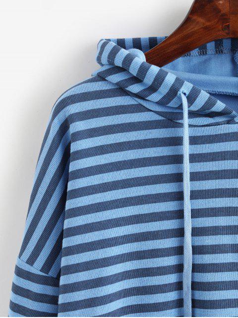Gestreifter Schulterfreier GeschichteterSaum Strick Hoodie - Blau Eine Größe Mobile