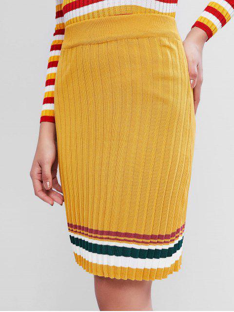 條紋針織裙 - 亮黃的 One Size Mobile