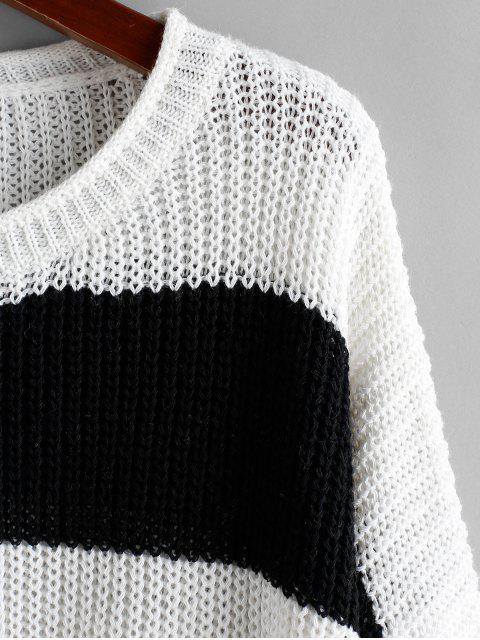 ZAFUL Zweifärbiges Streifen Ausgefranste Tropfen Schulter Pullover - Multi S Mobile