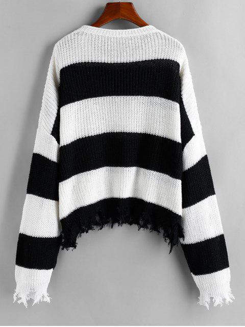 women ZAFUL Two Tone Striped Frayed Drop Shoulder Sweater - MULTI M Mobile