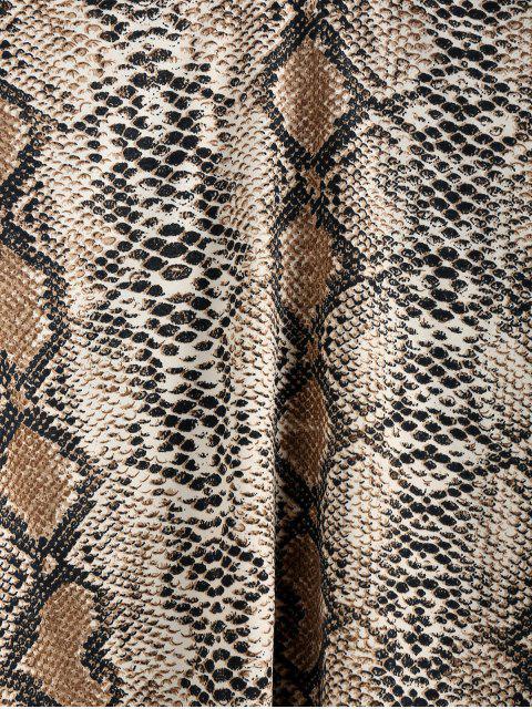 womens ZAFUL Snakeskin Mock Neck Crop T-shirt - MULTI-A M Mobile