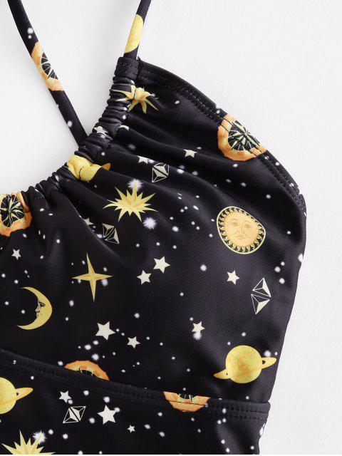 ZAFUL Перекрестные шнурки Принт галактики и звезды и луны Купальник - Чёрный S Mobile