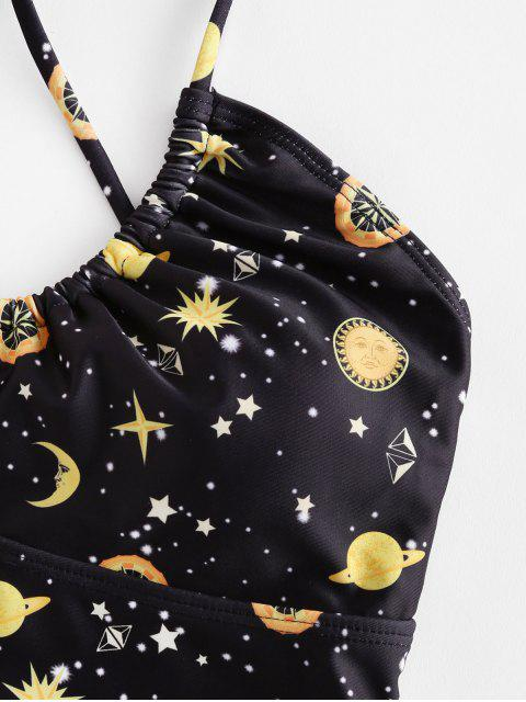 new ZAFUL Criss Cross Galaxy Moon And Stars Swimsuit - BLACK L Mobile