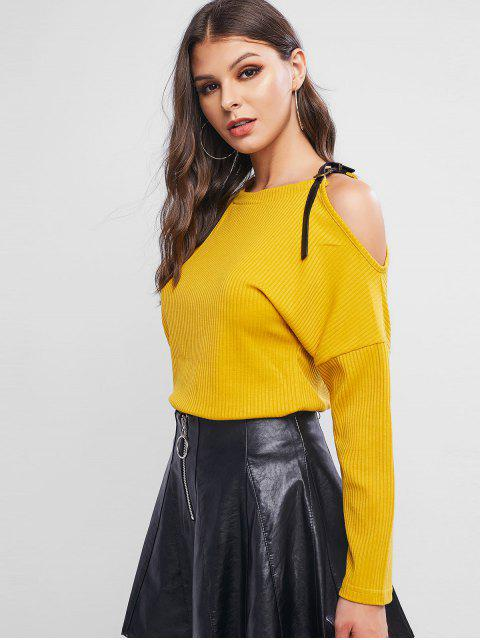 womens Ribbed Buckle Cold Shoulder T-shirt - YELLOW XL Mobile
