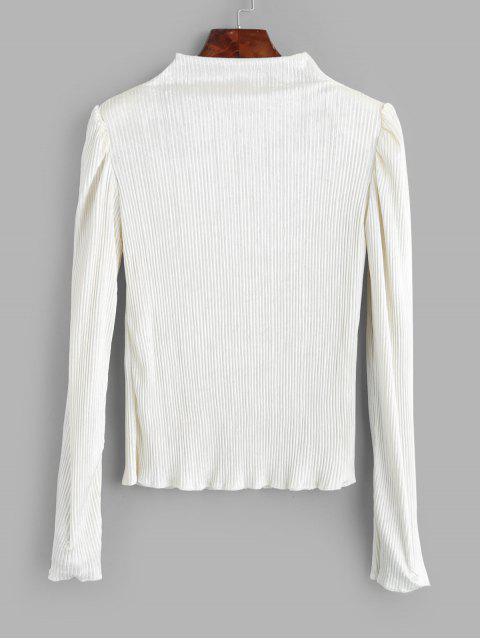 模擬領閃亮的絲絨墊肩T卹 - 白色 One Size Mobile