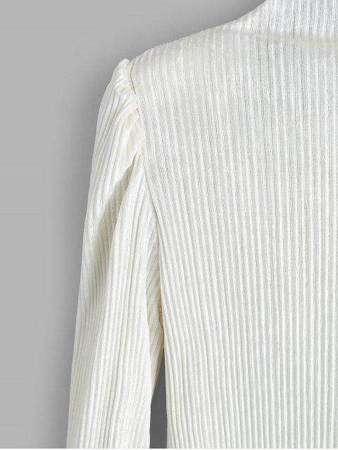 fancy Mock Neck Shiny Velvet Shoulder Pads Tee - WHITE ONE SIZE Mobile