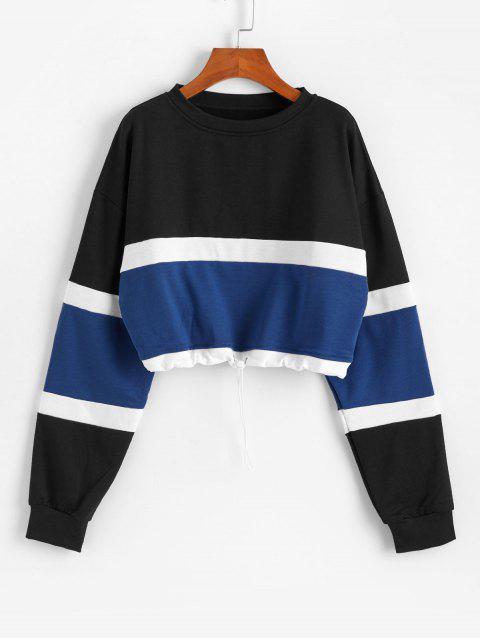 條紋狀顏色阻斷切換抽繩運動衫 - 黑色 M Mobile