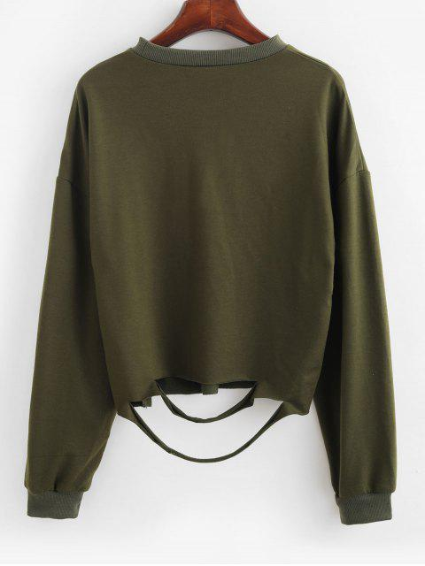 new ZAFUL Raw Cut Cutout Ripped Drop Shoulder Sweatshirt - ARMY GREEN L Mobile
