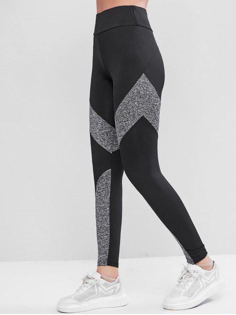 拉鍊口袋希瑟Colorblock護腿 - 黑色 XL Mobile