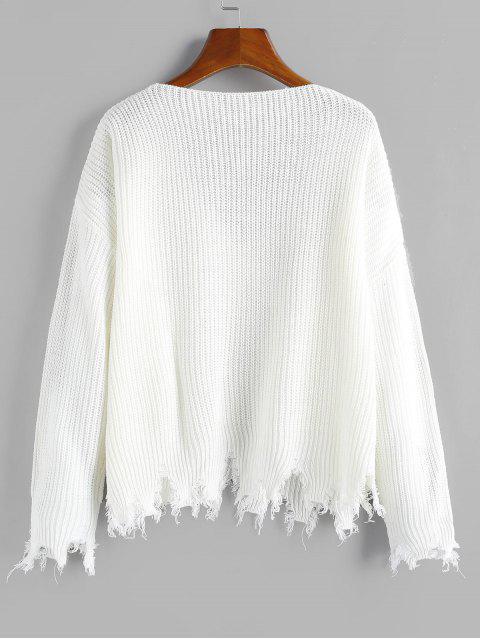 ladies ZAFUL Frayed Hem V Neck Drop Shoulder Sweater - WHITE L Mobile