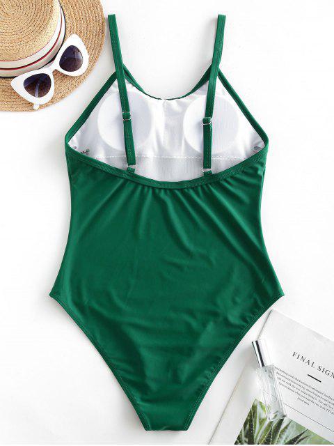 ZAFUL Solid Padded Llanura de una sola pieza del traje de baño - Mar Verde Mediana L Mobile