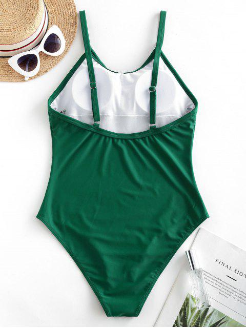 online ZAFUL Solid Padded Plain One-piece Swimsuit - MEDIUM SEA GREEN XL Mobile