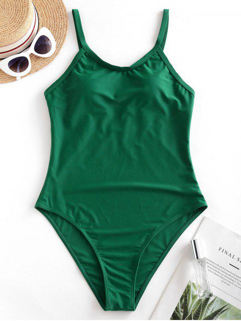 shop ZAFUL Solid Padded Plain One-piece Swimsuit - MEDIUM SEA GREEN M Mobile