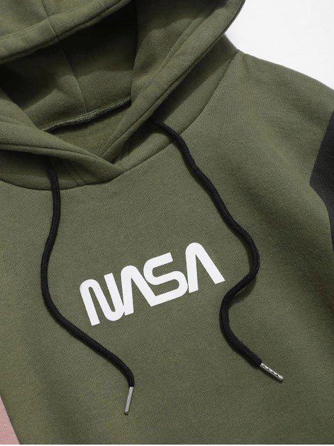 shops Colorblocking Spliced Letter Drawstring Pullover Hoodie - ARMY GREEN S Mobile