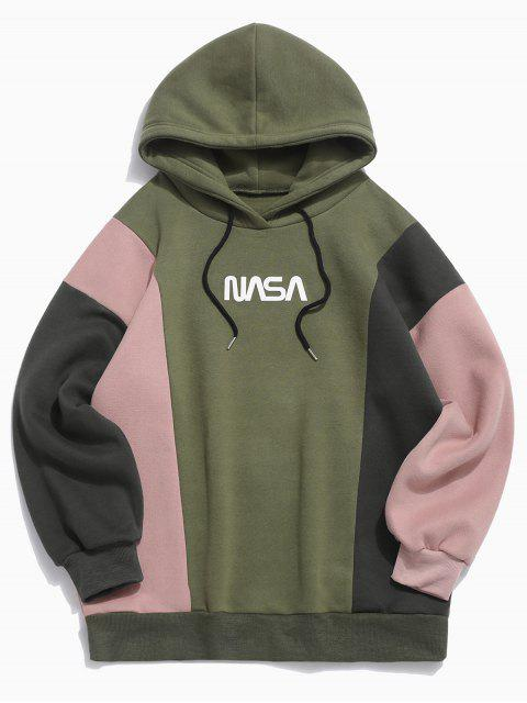 best Colorblocking Spliced Letter Drawstring Pullover Hoodie - ARMY GREEN M Mobile