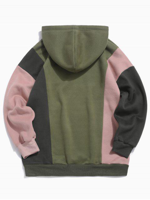 buy Colorblocking Spliced Letter Drawstring Pullover Hoodie - ARMY GREEN 2XL Mobile