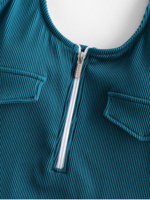 ZAFUL半拉鍊質感羅紋連體泳衣 - 孔雀藍 S Mobile