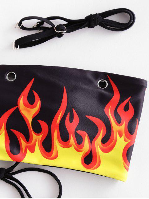 ladies ZAFUL Flame Print Grommets Lace-up Bandeau Bikini Swimsuit - BLACK L Mobile