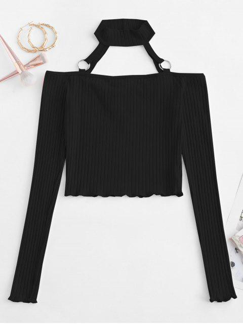 outfits Choker O-ring Cold Shoulder Slim Crop Tee - BLACK M Mobile