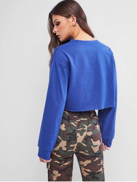 Lema conejo gráfico en bruto cortada la camiseta corta - Azul Talla única Mobile