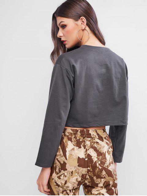 affordable Graphic Drop Shoulder Cropped Sweatshirt - ASH GRAY M Mobile