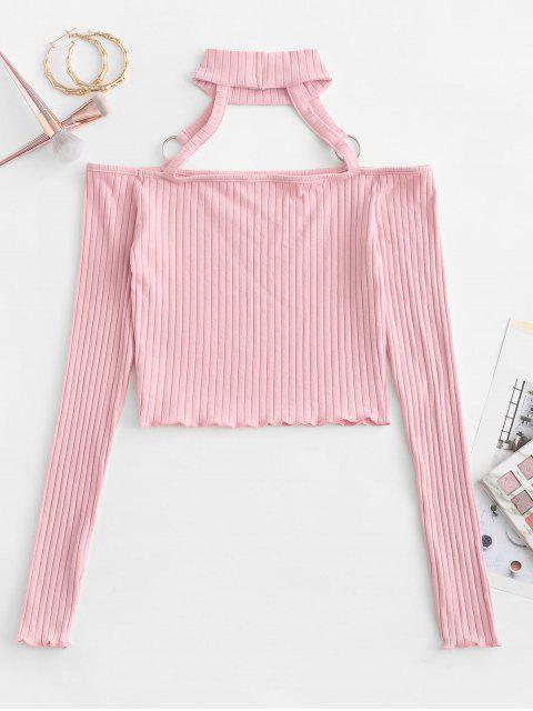 チョーカーOリング肩出しスリムクロップTシャツ - ピンク M Mobile