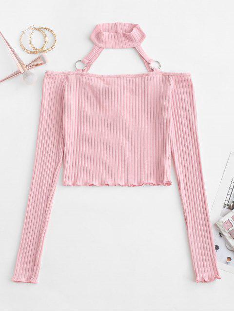 shop Choker O-ring Cold Shoulder Slim Crop Tee - PINK M Mobile