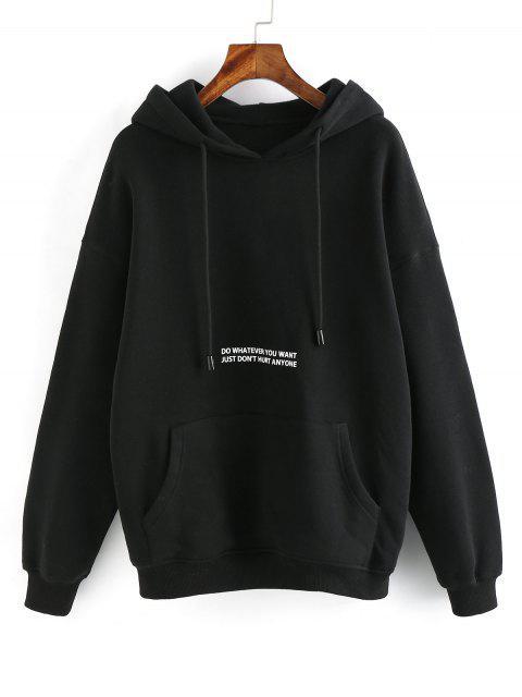 unique ZAFUL Letter Graphic Drop Shoulder Lounge Fleece Hoodie - BLACK L Mobile