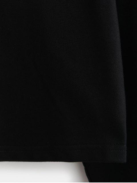 affordable Cotton Graphic Drawstring Short Hoodie - MULTI-B M Mobile