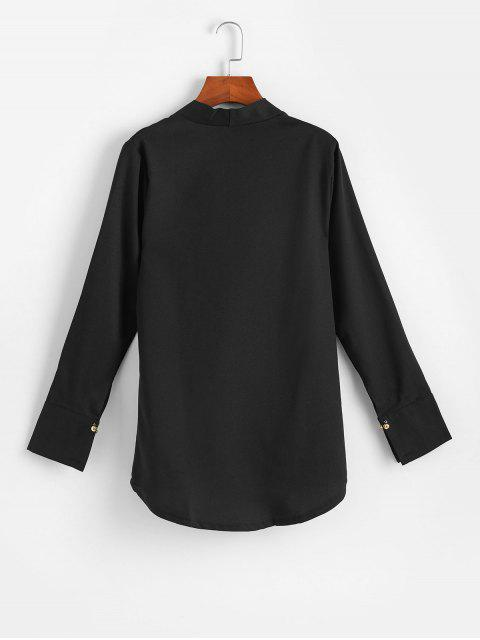 lady Low Cut Beaded Overlap High Low Blouse - BLACK XL Mobile