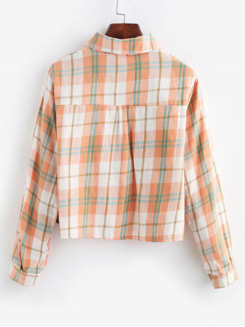 trendy Plaid Flap Pocket Button Up Shirt - MULTI-A ONE SIZE Mobile