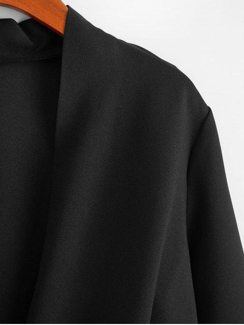 fancy Low Cut Beaded Overlap High Low Blouse - BLACK 2XL Mobile