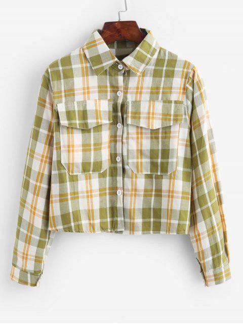 womens Plaid Flap Pocket Button Up Shirt - MULTI-B ONE SIZE Mobile