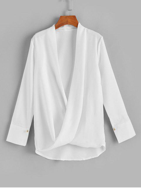 ladies Low Cut Beaded Overlap High Low Blouse - WHITE XL Mobile