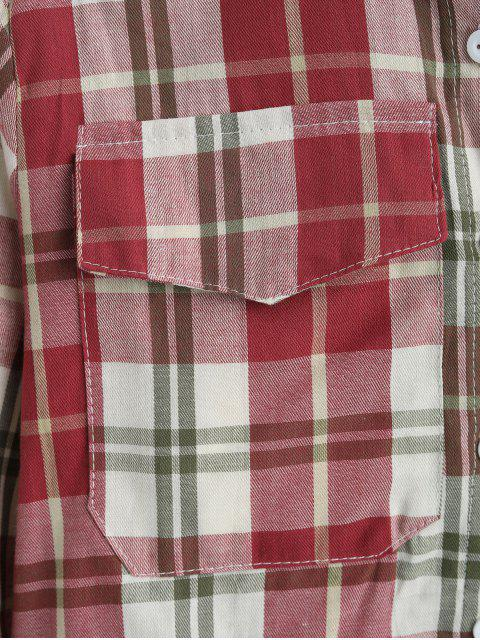 outfit Plaid Flap Pocket Button Up Shirt - MULTI-C ONE SIZE Mobile