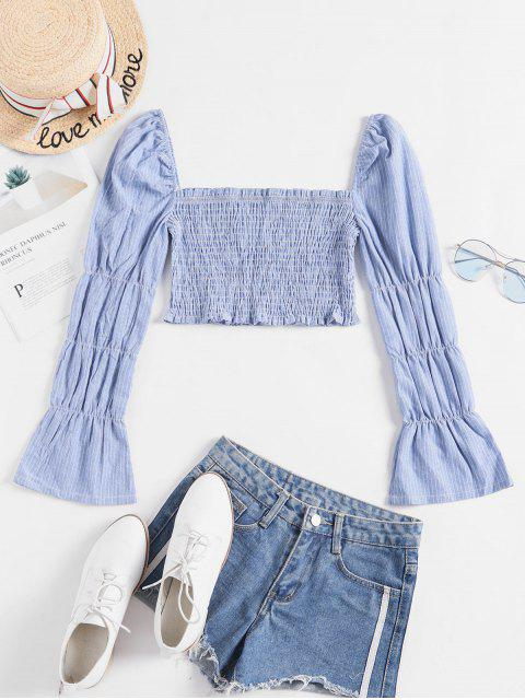 latest Striped Smocked Flare Sleeve Milkmaid Crop Blouse - SKY BLUE M Mobile