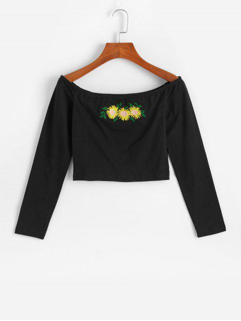 outfits Sunflower Embroidered Off Shoulder Crop Tee - BLACK M Mobile