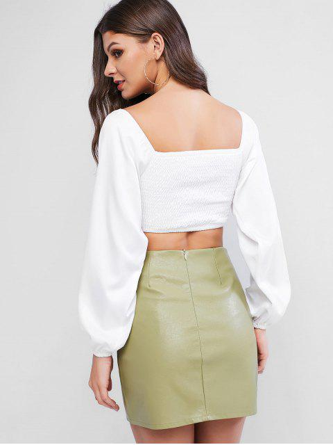 sale Smocked Sweetheart Cutout Crop Blouse - WHITE M Mobile