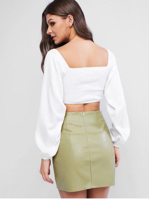 Blusa Corta de Bata con Escote en Corazón - Blanco S Mobile