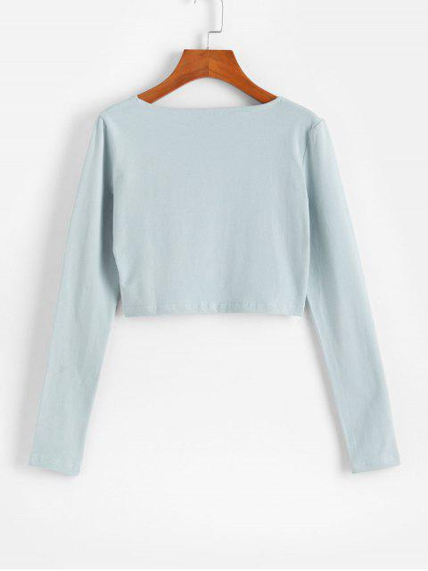 shops Buttoned Plunge Long Sleeve Crop Tee - PALE BLUE LILY M Mobile
