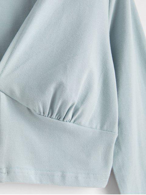 Camiseta Corta Manga Larga y Botones - Lirio Azul Claro S Mobile