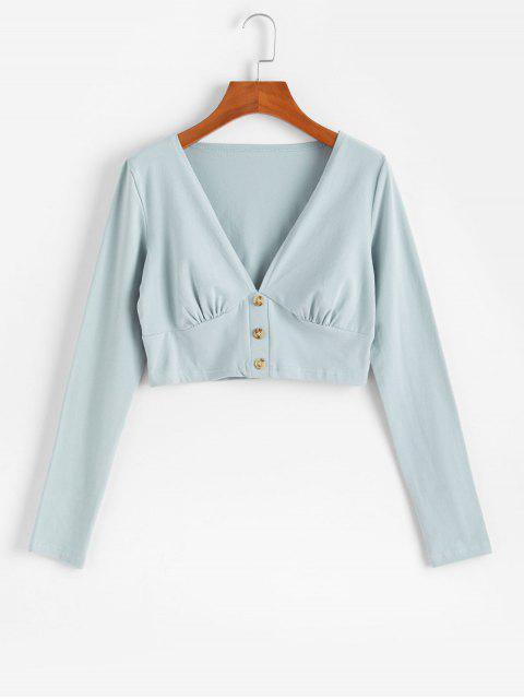 buy Buttoned Plunge Long Sleeve Crop Tee - PALE BLUE LILY S Mobile