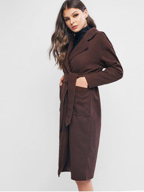 hot Wool Blend Pocket Belted Longline Coat - COFFEE L Mobile