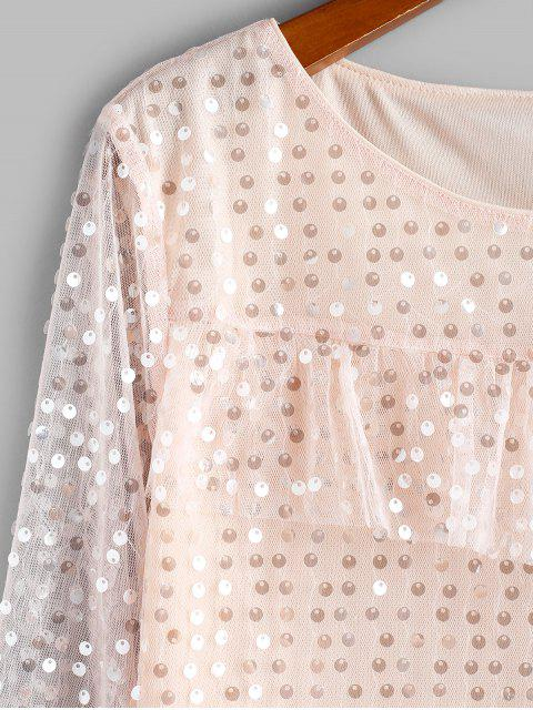shops ZAFUL Disc Sequined Ruffle Lace Insert Blouse - APRICOT L Mobile