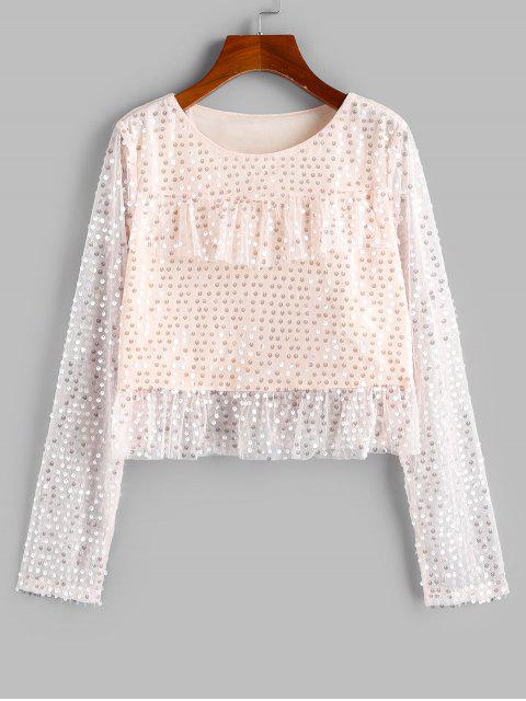 womens ZAFUL Disc Sequined Ruffle Lace Insert Blouse - APRICOT S Mobile